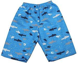 Bermuda Infantil Menino Tubarão Azul