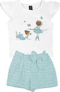 Conjunto de Blusa Estampa Bailarina e Short Laço Branco