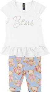 Conjunto de Blusa Strass e Capri Urso Branco
