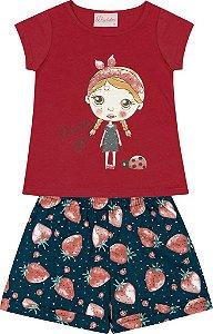 Conjunto Blusa Menina com Estampa e Shorts Estampado Vermelho