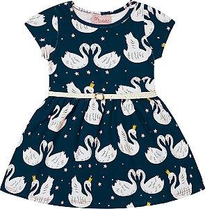Vestido em Cotton com Estampa Cisne Azul