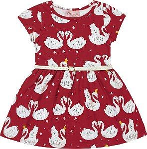 Vestido em Cotton com Estampa Cisne Vermelho