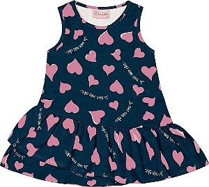 Vestido Bebê Menina Coração Azul