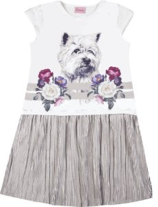 Vestido Infantil Menina Cachorrinho Branco