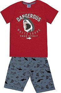 Conjunto de Camiseta Tubarão Bermuda em Moletom Soft Vermelho