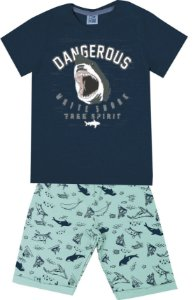 Conjunto de Camiseta Tubarão Bermuda em Moletom Soft Azul