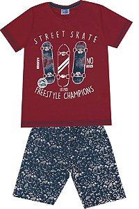 Conjunto de Camiseta Skate Bermuda em Moletom Soft Vermelho