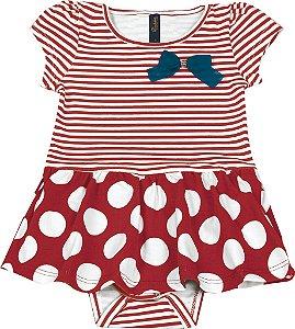 Body Vestido Bebê Menina Listrado Vermelho