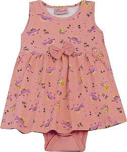 Body Vestido Bebê Menina Dinossauro Salmão