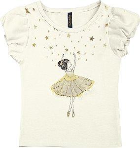 Blusa Bebê Menina Bailarina Bege