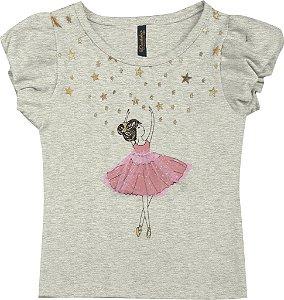 Blusa Bebê Menina Bailarina Mescla Claro