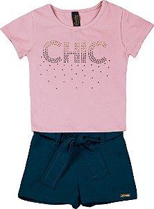 Conjunto de Blusa Chic e Short Chambray Rosa