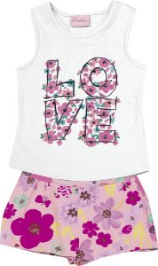 Conjunto de Blusa Estampa Love e Short Estampa Flor Branco