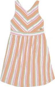 Vestido Infantil Menina Listrado Laranja