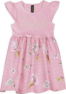 Vestido em Cotton e Saia de Cetim Sweet Rosa
