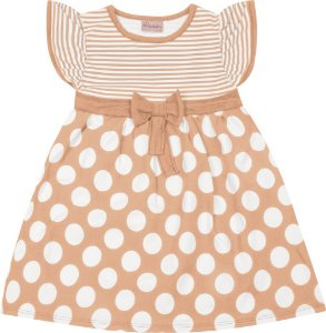 Vestido  Bebê Menina Bolinha Laranja
