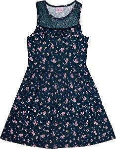 Vestido Infantil Menina Flores Marinho
