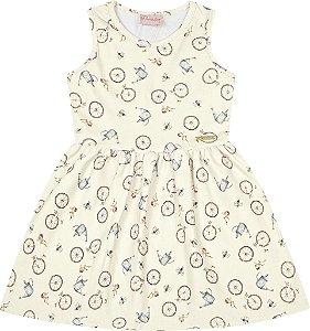 Vestido Bebê Menina Bicicleta Bege