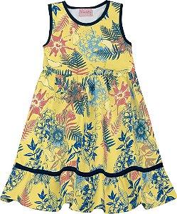 Vestido Infantil Menina Folhas Amarelo