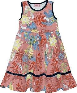 Vestido Infantil Menina Folhas Salmão