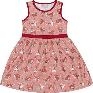 Vestido Infantil Menina Morangos Salmão