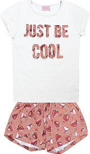 Conjunto Blusa Just Be Cool e Shorts Estampado Branco
