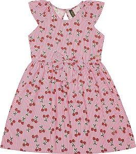 Vestido Infantil Menina Cerejas Rosa