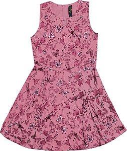 Vestido Infantil Menina Borboletas Rosa