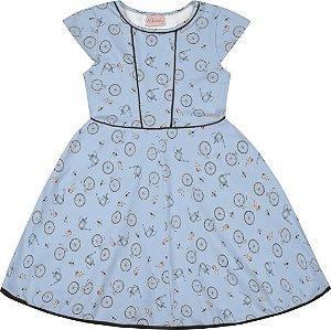 Vestido Infantil Menina Bicicleta Azul
