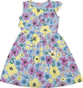 Vestido Infantil Menina Floral Azul