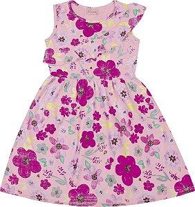 Vestido Infantil Menina Floral Rosa