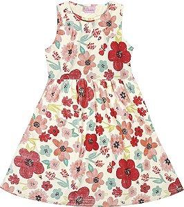 Vestido Infantil Menina Flores Bege