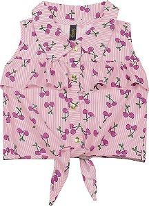 Camisa Infantil Menina Cereja Rosa
