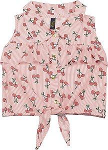 Camisa Infantil Menina Cereja Salmão