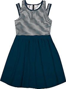 Vestido Juvenil Menina Listrado Azul