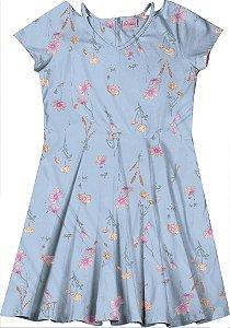 Vestido Cotton Estampado Florido Azul Claro