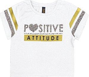 Blusa Infantil Menina Positive Branco
