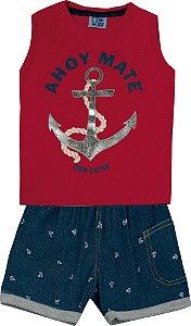 Conjunto Machão Estampada Âncora e Bermuda Jeans Vermelho