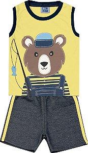 Conjunto Machão com Estampa Urso e Bermuda Moletom Jeans Amarelo