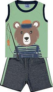 Conjunto Machão com Estampa Urso e Bermuda Moletom Jeans Verde