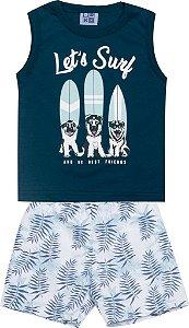 Conjunto Machão com Estampa e Bermuda Tactel Estampada Let´s Surf Azul