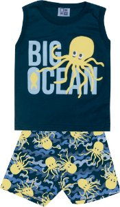 Conjunto Machão com Estampa e Bermuda Tactel Estampada Big Ocean Azul