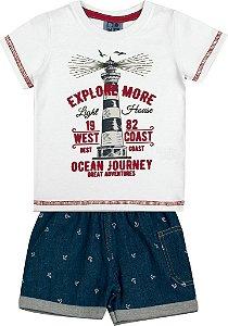 Conjunto Camiseta Estampada Explore e Bermuda Jeans Branco
