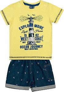 Conjunto Camiseta Estampada Explore e Bermuda Jeans Amarelo