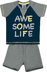 Conjunto Camiseta Estampada e Bermuda Moletom Flamê  Azul