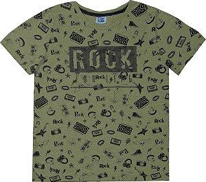 Camiseta Juvenil Menino Rock Verde