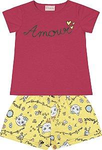 Conjunto Bebê Menina Amour Rosa