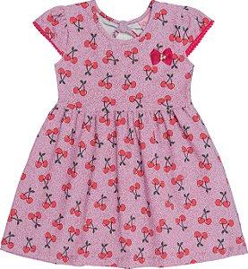 Vestido Infantil Menina Cereja Rosa
