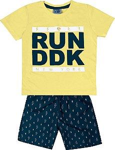 Conjunto Camiseta Estampada Run DDK e Bermuda Tactel Estampada Amarelo