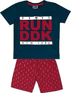 Conjunto Camiseta Estampada Run DDK e Bermuda Tactel Estampada Azul